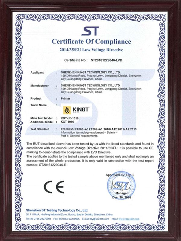 1016 CE LVD Certificate
