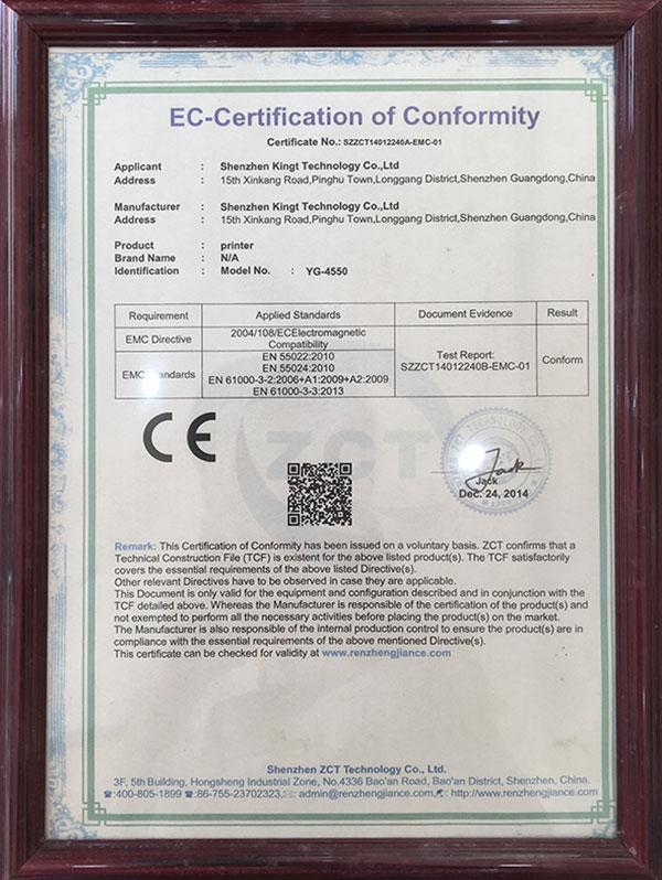 Certification CE YG4550