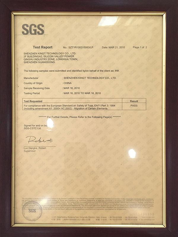 Certification SGS