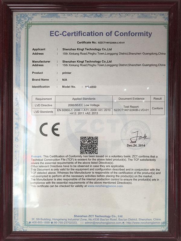YG 4550 CE LVD Certificate